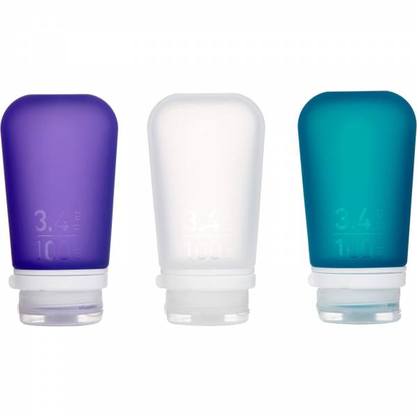 humangear GoToob 3er Pack - 3 x 100 ml Tube transparent-violett-türkis - Bild 1