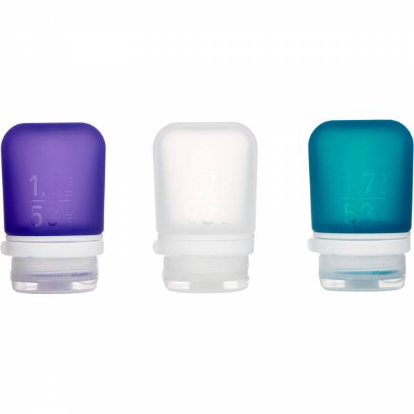 humangear GoToob+ 3er Pack - 3 x 53 ml Tube transparent-violett-türkis - Bild 3